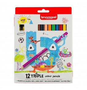Bruynzeel Kids Triple sada farbičiek, 12ks + strúhadlo