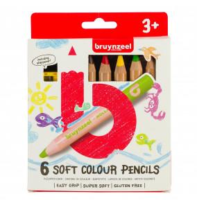 Bruynzeel sada mäkkých farebných ceruziek pre deti, 6ks
