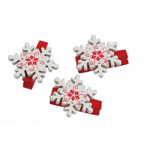 Dekoračná štipce vianočné 3,5cm, 6ks