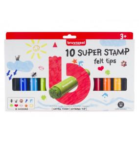 Bruynzeel Kids Super Stamp Felt Tips mega pečiatkové fixi sada, 10ks